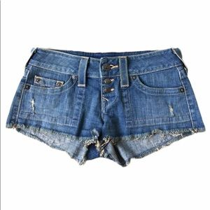 TRUE RELIGION Low Rise Jean Shorts